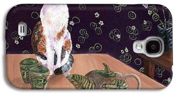 Pottery Paintings Galaxy S4 Cases - Calico Tea Meditation Galaxy S4 Case by Laura Iverson