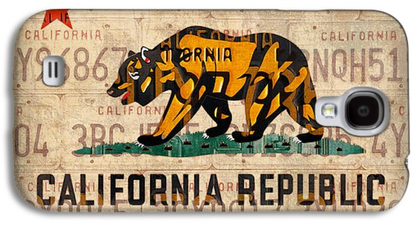 California State Flag Recycled Vintage License Plate Art Galaxy S4 Case by Design Turnpike