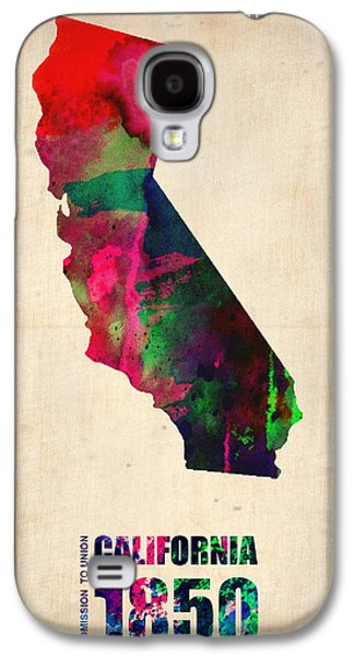 Modern Digital Art Galaxy S4 Cases - California Watercolor Map Galaxy S4 Case by Naxart Studio