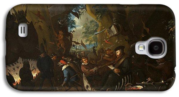 Christian work Paintings Galaxy S4 Cases - Calvin in Hell  Galaxy S4 Case by Egbert van Heemskerck II