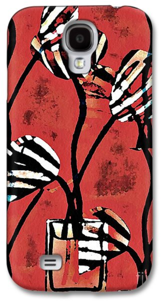 Avant Garde Mixed Media Galaxy S4 Cases - Candy Stripe Tulips 2 Galaxy S4 Case by Sarah Loft