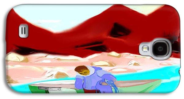 Canoe Drawings Galaxy S4 Cases - Canoe Fishing Galaxy S4 Case by Belinda Threeths