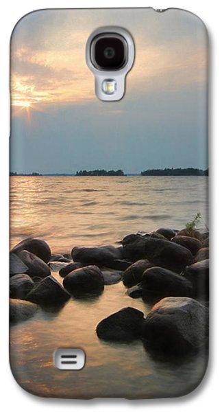Canoe Mixed Media Galaxy S4 Cases - Canoe Point Sunset Galaxy S4 Case by Lori Deiter