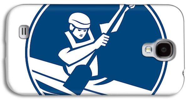 Canoeing Galaxy S4 Cases - Canoe Slalom Circle Icon Galaxy S4 Case by Aloysius Patrimonio