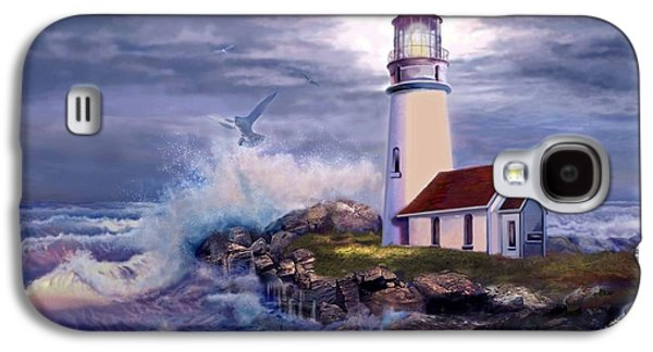 Landscape Oil Galaxy S4 Cases - Cape Blanco Oregon Lighthouse on Rocky Shores Galaxy S4 Case by Gina Femrite