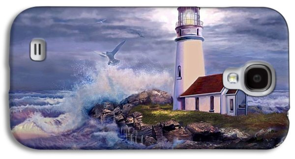 Ocean Shore Galaxy S4 Cases - Cape Blanco Oregon Lighthouse on Rocky Shores Galaxy S4 Case by Gina Femrite