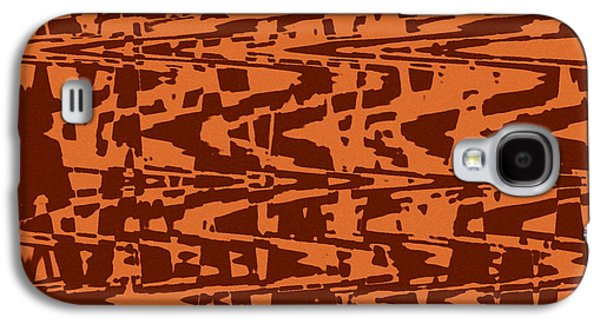 Abstract Digital Tapestries - Textiles Galaxy S4 Cases - Capri Burnt Orange Galaxy S4 Case by FabricWorks Studio