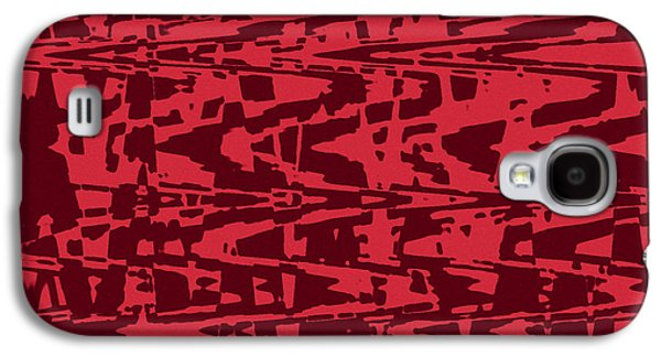 Abstract Digital Tapestries - Textiles Galaxy S4 Cases - Capri Red Galaxy S4 Case by FabricWorks Studio