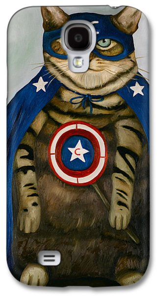 4th July Paintings Galaxy S4 Cases - Captain Cat Super Hero Galaxy S4 Case by Leah Saulnier The Painting Maniac