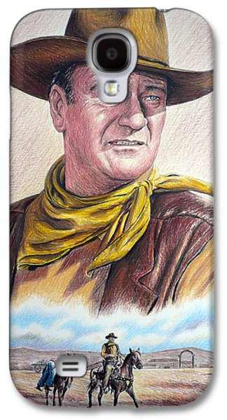 John Wayne Drawings Galaxy S4 Cases - Captured color version 2 Galaxy S4 Case by Andrew Read