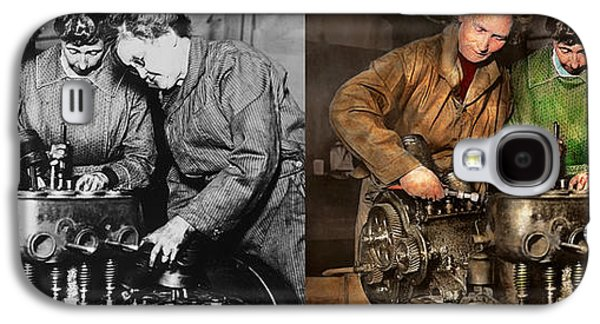 Car Mechanic - In A Mothers Care 1900 - Side By Side Galaxy S4 Case by Mike Savad