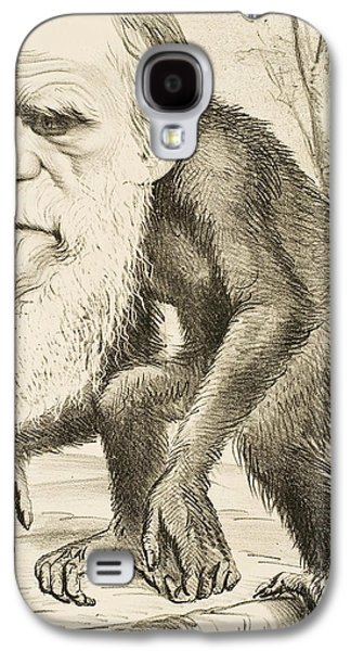 Person Drawings Galaxy S4 Cases - Caricature of Charles Darwin Galaxy S4 Case by English School