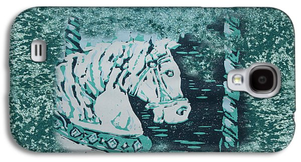 Lino Paintings Galaxy S4 Cases - Carousel Horse Aquamarine Galaxy S4 Case by Lyndsey Hatchwell