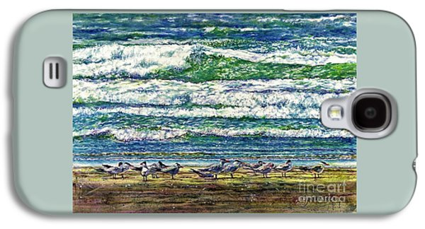 Group Of Birds Paintings Galaxy S4 Cases - Caspian Terns by the Ocean Galaxy S4 Case by Cynthia Pride