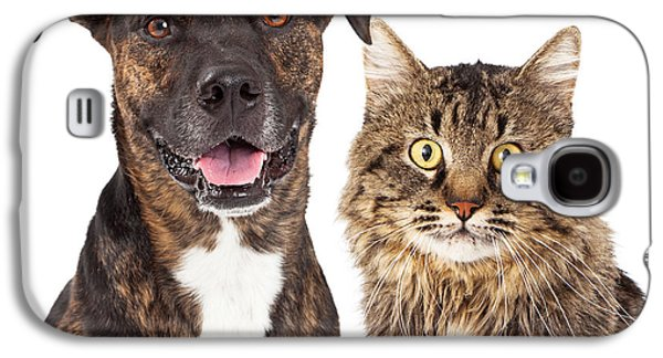 Cutouts Galaxy S4 Cases - Cat and Dog Closeup Galaxy S4 Case by Susan  Schmitz