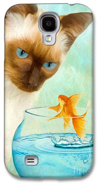 Goldfish Mixed Media Galaxy S4 Cases - Cat and Fish Galaxy S4 Case by AnaCB Studio
