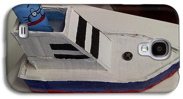 Cat In Speed Boat Galaxy S4 Case by William Douglas