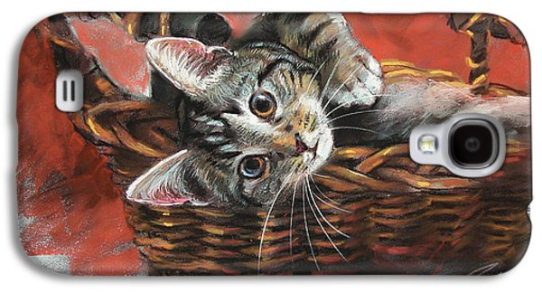 Drawing Pastels Galaxy S4 Cases - Cat in the basket Galaxy S4 Case by Ylli Haruni