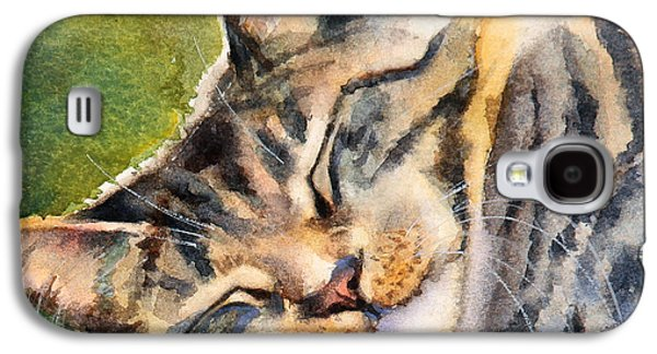 Gray Tabby Galaxy S4 Cases - Cat Nap Galaxy S4 Case by Bonnie Rinier