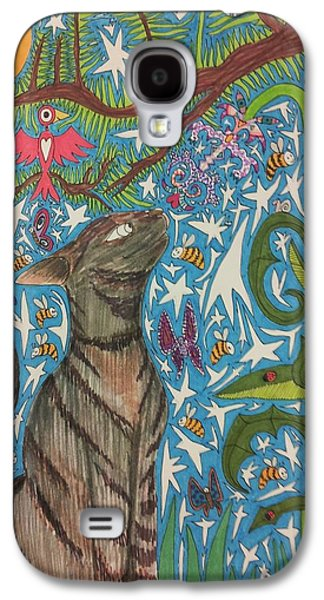 Cat Smelling A Flower 6 Galaxy S4 Case by William Douglas