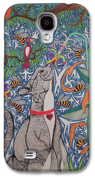 Cat Smelling Flower Galaxy S4 Case by William Douglas