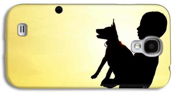 Dog Playing Ball Galaxy S4 Cases - Catch Galaxy S4 Case by Tim Gainey