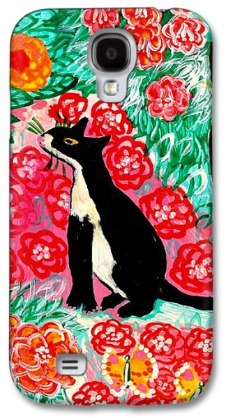 Floral Ceramics Galaxy S4 Cases - Cats and Roses Galaxy S4 Case by Sushila Burgess