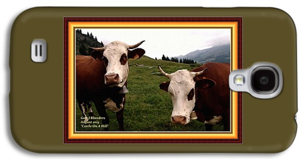 Abstract Digital Pastels Galaxy S4 Cases - Cattle On A Hill H A With Decorative Ornate Printed Frame. Galaxy S4 Case by Gert J Rheeders