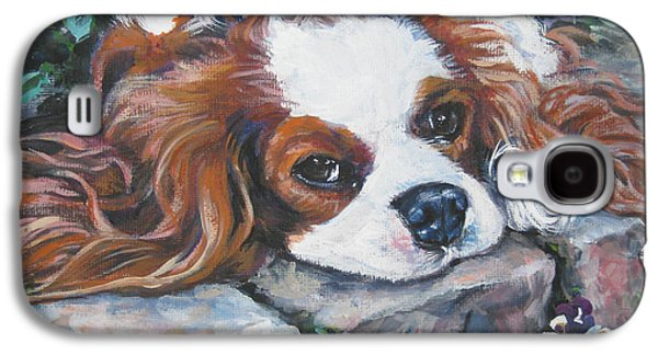 Puppies Galaxy S4 Cases - Cavalier King Charles Spaniel in the pansies  Galaxy S4 Case by Lee Ann Shepard