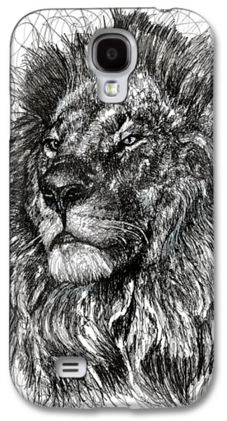 Animals Drawings Galaxy S4 Cases - Cecil The Lion Galaxy S4 Case by Michael  Volpicelli