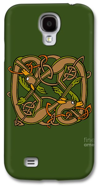 Dogs Digital Art Galaxy S4 Cases - Celtic Hounds Knot Galaxy S4 Case by Donna Huntriss
