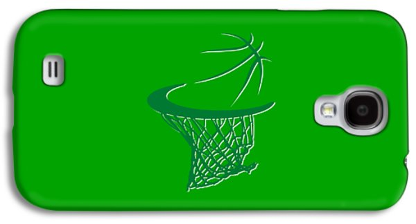 Boston Celtics Galaxy S4 Cases - Celtics Basketball Hoop Galaxy S4 Case by Joe Hamilton