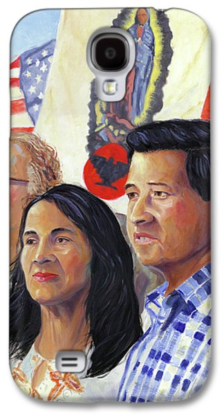 Ross Paintings Galaxy S4 Cases - Cesar Chavez and La Causa Galaxy S4 Case by Steve Simon