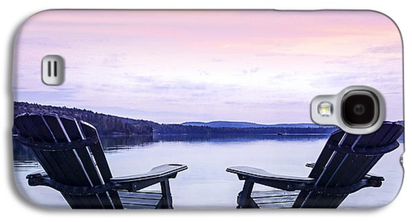 Chair Galaxy S4 Cases - Chairs on lake dock Galaxy S4 Case by Elena Elisseeva