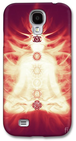 Luminous Body Galaxy S4 Cases - Chakras symbols and energy flow on human body Galaxy S4 Case by Oleksiy Maksymenko