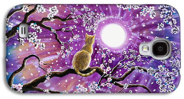 Orange Tabby Paintings Galaxy S4 Cases - Champagne Tabby Cat in Cherry Blossoms Galaxy S4 Case by Laura Iverson