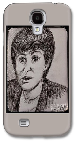 Mccartney Galaxy S4 Cases - Charcoal Portrait of Paul McCartney Galaxy S4 Case by Joan-Violet Stretch