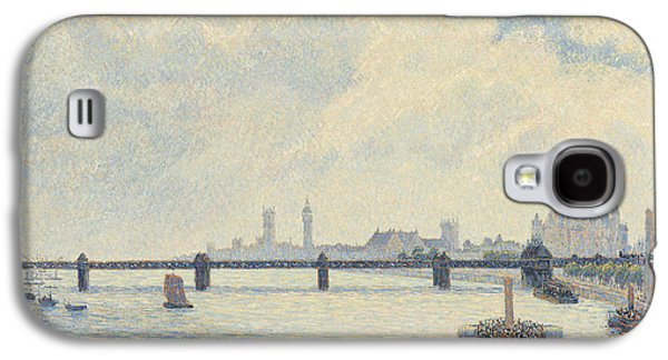 Boats In Water Paintings Galaxy S4 Cases - Charing Cross Bridge - London Galaxy S4 Case by Camille Pissarro