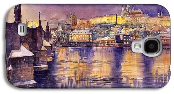 Town Paintings Galaxy S4 Cases - Charles Bridge and Prague Castle with the Vltava River Galaxy S4 Case by Yuriy  Shevchuk