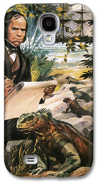 Reptiles Drawings Galaxy S4 Cases - Charles Darwin on the Galapagos Islands Galaxy S4 Case by Andrew Howat