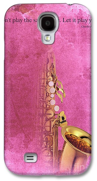Charlie Parker Saxophone Light Red Vintage Poster And Quote, Gift For Musicians Galaxy S4 Case by Pablo Franchi