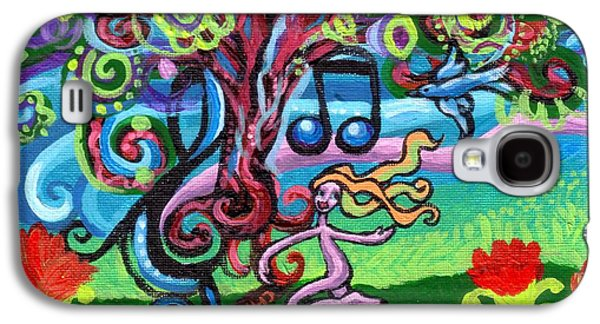 Fantasy Tree Paintings Galaxy S4 Cases - Chase Of The Faerie Note Bubble Galaxy S4 Case by Genevieve Esson