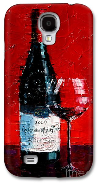 Still Life With Wine Bottle And Glass I Galaxy S4 Case by Mona Edulesco