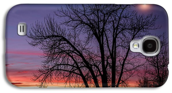 Landscape Acrylic Prints Galaxy S4 Cases - Chatfield Moon At Sunrise Galaxy S4 Case by Darren  White