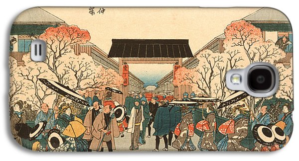 Cherry Blossoms Galaxy S4 Cases - Cherry Blossom Time in Nakanocho Galaxy S4 Case by Hiroshige