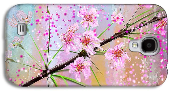 Cherry Blossoms Galaxy S4 Cases - Cherry Blossoms Art Galaxy S4 Case by Lourry Legarde