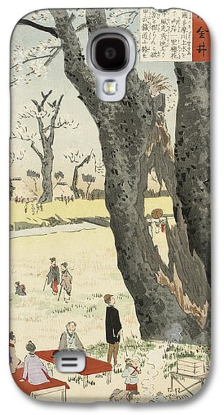 Cherry Blossoms Drawings Galaxy S4 Cases - Cherry Blossoms Galaxy S4 Case by Kobayashi Kiyochika