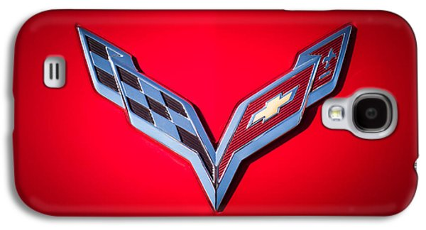 Sports Photographs Galaxy S4 Cases - Chevrolet Corvette Emblem -0406c Galaxy S4 Case by Jill Reger