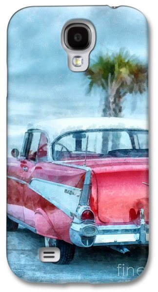 Old Door Galaxy S4 Cases - Chevy Belair at the Beach Watercolor Galaxy S4 Case by Edward Fielding