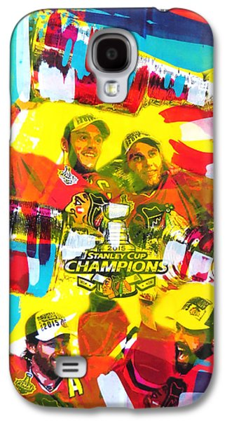 Stanley Cup Paintings Galaxy S4 Cases - Chicago Blackhawks 2015 Champions Galaxy S4 Case by Elliott From